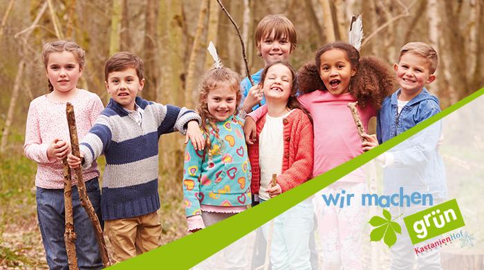 """Flyergestaltung: Kinder im Wald für die Initiative """"wir machen grün"""" der Kastanienhof Stiftung"""