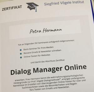 Dialog Manager Online: Urkunde für Petra Hermann vom SVI