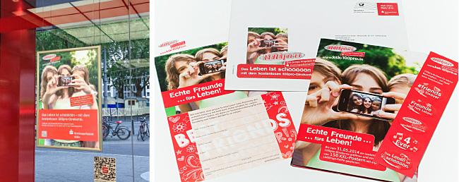 POS-Ausstattung in einer Filiale der Kreissparkasse Köln und ein Mailing zur kostenlosen Kontoeröffnung.