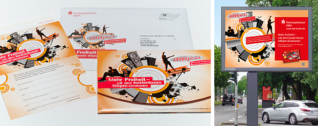 Zwei Bilder. Auf dem linken Bild ein Mailing inkl. Umschlag. Auf dem rechten Bild eine Außenkampagne. Beides für die 100pro Kampagne der Kreissparkasse Köln