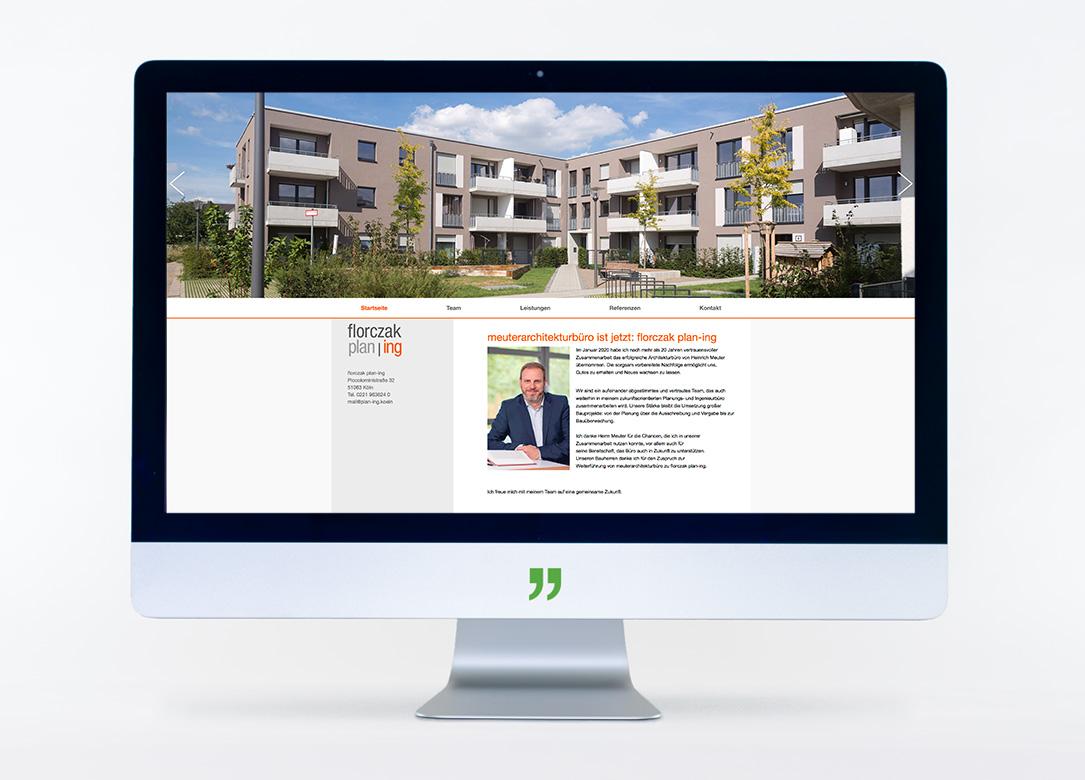 Bildschirm mit der Webseite von florczak plan-ing. Webseitengestaltung und -pflege durch die kggk