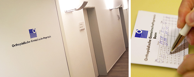 Türschildergestaltung, sowie Terminzettel der Orthopädischen Gemeinschaftspraxis in Bonn. Erstellt von der kggk