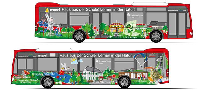 Layouts für die Busgestaltung zur Verkehrsmittelwerbung. Zu sehen sind die Illustrationszeichnungen als Vorlage für die Busbeklebung