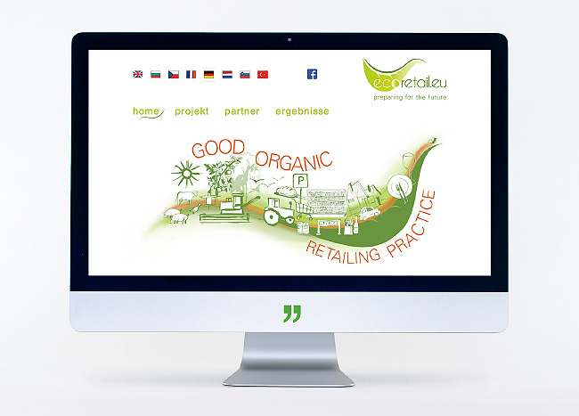 """Bildschirm mit Webseite """"ecoretail.eu"""""""