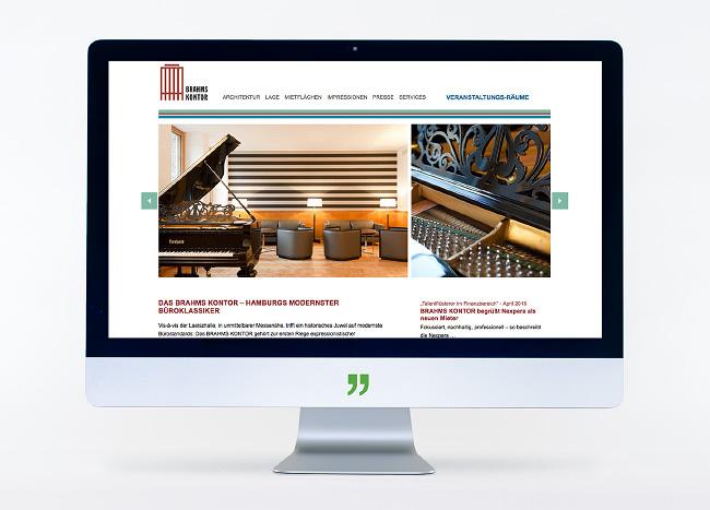 Bildschirm mit der Brahms Kontor Webseite