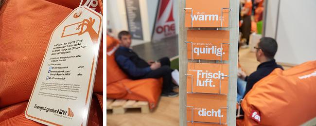 Sitzsäcke und Postkarten in Orange inklusive Erläuterung eines Gewinnspiels für einen Sitzsack