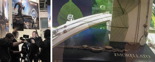 Zwei Bilder. Links sieht man eine Dreharbeit mit dem Sportler Joey Kelly. Rechts sieht man eine Schmuckpräsentation der Firma Morellato.