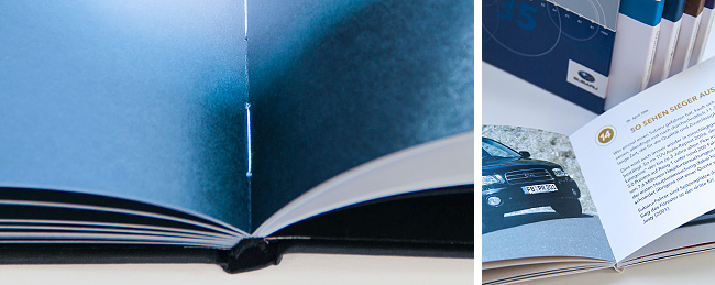 Nahaufnahmen eines Bucheinbands und der Gestaltung. Produktion von kggk
