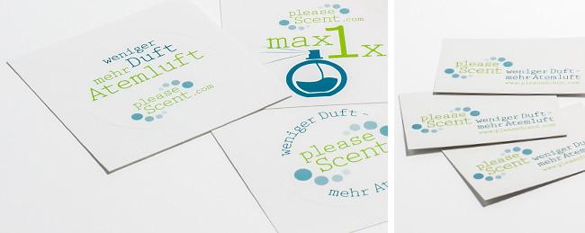 Printmaterial mit Slogan und Internetadresse der Firma pleaseScent