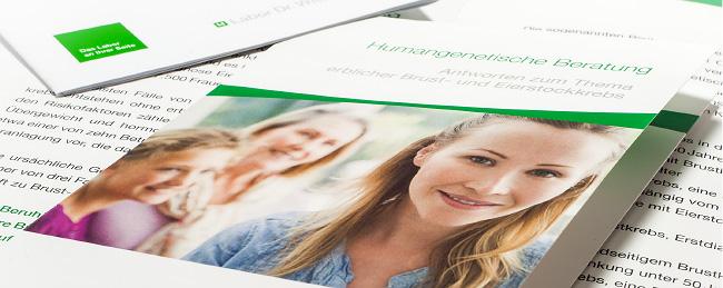 """Flyer zum Thema """"Humangenetische Beratung"""" von dem Labor Dr. Wisplinghoff. Gestaltet und erstellt durch kggk."""
