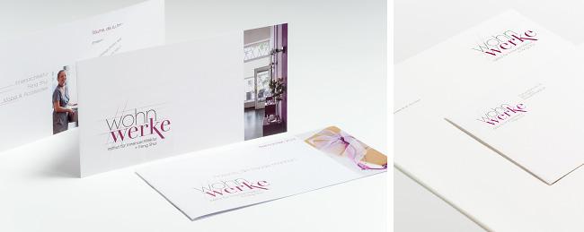 verschiedenes Printmaterial für wohnwerke. Corporate Design und Erstellung durch kggk.