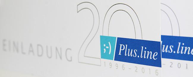 Mailing als Einladung zum 20 jährigen Jubiläum von Plus.line