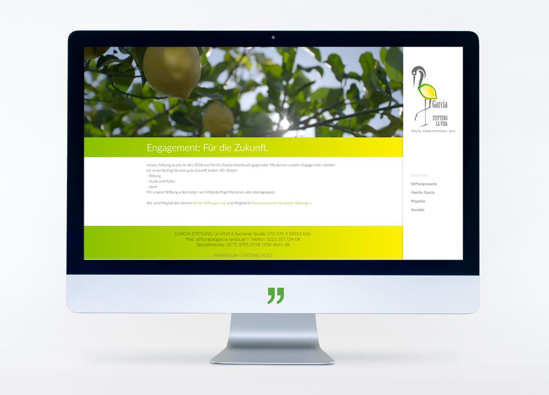Das Bild zeigt die Startseite der Stiftung Garcia La Vida. Die Website wurde von kggk gestaltet und getextet.